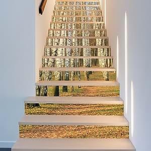 階段自己粘着壁紙階段ステッカー防水ステップホームデコレーション3DバーチフォレストDIY HDは壁ステッカーを取り外すことができます