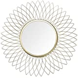 """JHY Design Home Collection 14.5"""" Golden Flower Decorative Metal Mirror,Classic Metal Decorative Wall Mirror (Flower)"""
