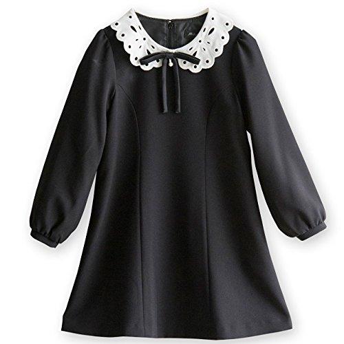 (キャサリンコテージ) Catherine Cottage子供服 MA705 入学式 フォーマル 女の子 白襟 ワンピース 110cm ブラック(黒)