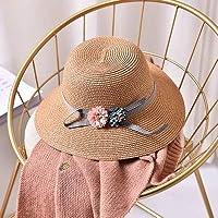 HEAAMTW 新しい春夏リボン弓ダブルフラワーハット親子麦わら帽子女の子ビーチ帽子女性サンハット大人サイズ(56-58cm)3つの帽子ワイドつばフロッピーパッカブル調節可能