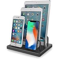 iphone 充電スタンド, ipad 充電スタンド Reflying【Apple MFi認証取得】4ポート同時充電 iphone ドック 充電ステーション USB 充電スタンド iPhone X, iPhone 8, 8 Plus, 7, 7 Plus, iPad,iPad Pro,Airpods対応 (ブラック)