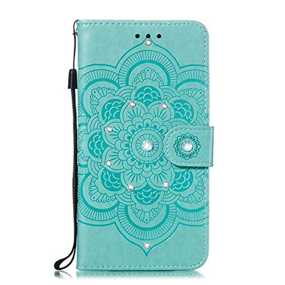 バズアジア人バズOMATENTI iPhone XR ケース 手帳型 かわいい レディース用 合皮PUレザー 財布型 保護ケース ザー カード収納 スタンド 機能 マグネット 人気 高品質 ダイヤモンドの輝き マンダラのエンボス加工 ケース, 緑