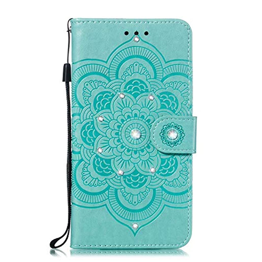 溝置くためにパック見かけ上OMATENTI iPhone XR ケース 手帳型 かわいい レディース用 合皮PUレザー 財布型 保護ケース ザー カード収納 スタンド 機能 マグネット 人気 高品質 ダイヤモンドの輝き マンダラのエンボス加工 ケース, 緑