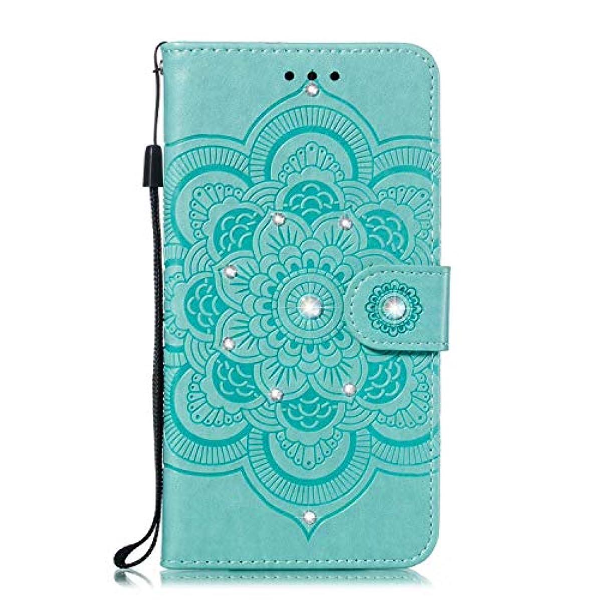 詳細な販売計画知性OMATENTI iPhone XR ケース 手帳型 かわいい レディース用 合皮PUレザー 財布型 保護ケース ザー カード収納 スタンド 機能 マグネット 人気 高品質 ダイヤモンドの輝き マンダラのエンボス加工 ケース, 緑