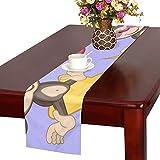 GGSXD テーブルランナー すばやい 猿 クロス 食卓カバー 麻綿製 欧米 おしゃれ 16 Inch X 72 Inch (40cm X 182cm) キッチン ダイニング ホーム デコレーション モダン リビング 洗える