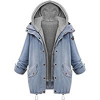 LOOKATOOL Winter Women Warm Collar Hooded Coat Jacket Denim Trench Parka Outwear