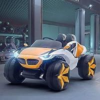 子供用電気自動車、2.4g 1対1リモートコントロール四輪車は、男性と女性のベビースイングベビーカーレザーシート12v電気自動車に座ることができます,オレンジ色,Airconditioning