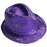 パープルスパンコールLight Up LED Fedoraパーティー帽子