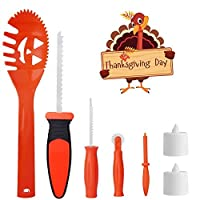SKINOSM Thanksgiving Pumpkin Carving Kit for Kids 5 Easy Halloween Pumpkin Carving Tools Set 2 LED Candles & 10 Carving Templates [並行輸入品]