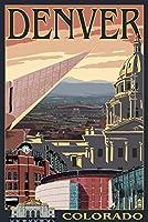デンバー、コロラド–スカイラインビュー 12 x 18 Signed Art Print LANT-33283-708