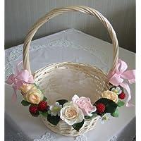 アートフラワーバスケットS 直径約22cm【結婚式 パーティー プチギフト用 花かご フラワーシャワー アーティフィシャルフラワー】
