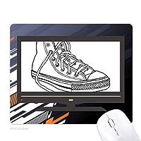 ホワイトキャンバスシューズの手のイラストを描いた ノンスリップラバーマウスパッドはコンピュータゲームのオフィス