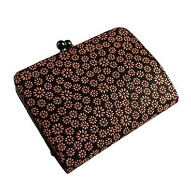 [古都印伝] 日本製 本革 がま口 二つ折り財布 ボックス小銭入れ デイジー ひな菊 和柄 印伝 漆 (ピンク)