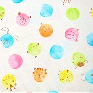 手芸のいとや 生地 ダブルガーゼ布 Soft Smile カラフルアニマル オフ 生地幅-約108cm×50cmカット 綿100%