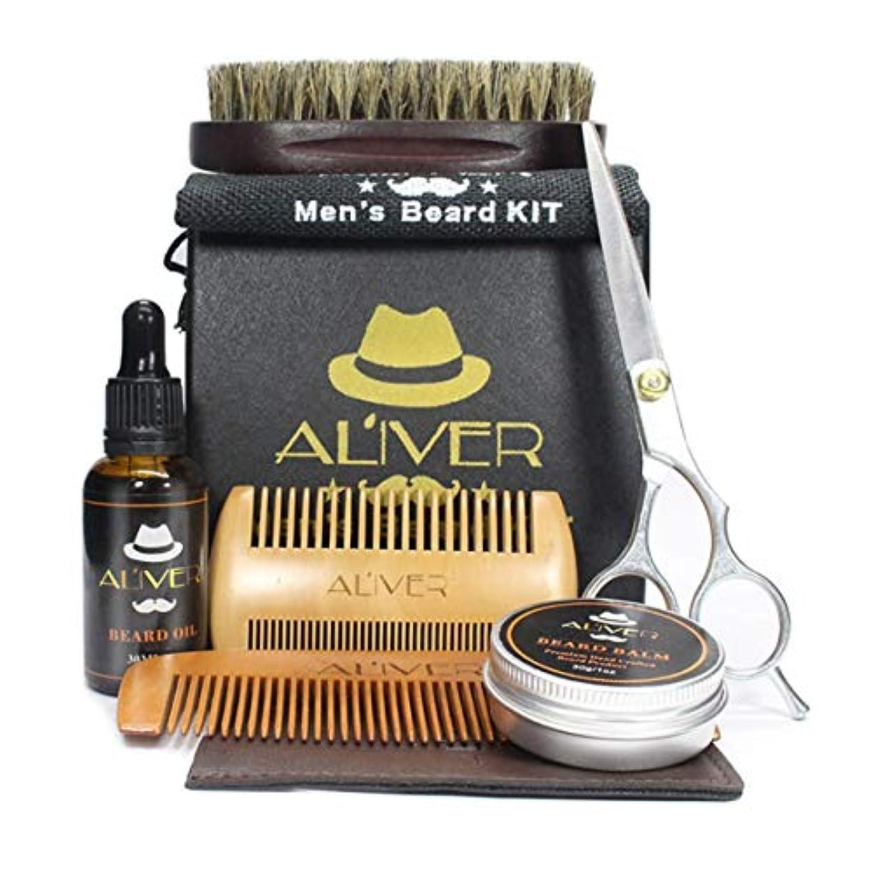 航空便樫の木アピールIntercorey Beard Care Kit髭櫛毛ブラシスタイリングはさみ髭クリームオイル6個セット安全非毒性