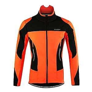 Lixada 冬用サイクルジャケット 長袖ロングジャージ ウインドブレーク 裏起毛 フリース 撥水 サイクルウェア 自転車 サイクリング