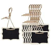 uxcell ミニ黒板看板ハンギング付きロープ木製長方形デザイン黒板タグ結婚式の誕生日パーティーのメッセージボードサインテーブル番号リマインダー価格タグ 12個