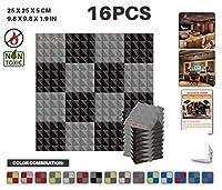 エースパンチ 新しい 16ピースセット グレーと黒 250 x 250 x 50 mm ピラミッド 東京防音 ポリウレタン 吸音材 アコースティックフォーム AP1034