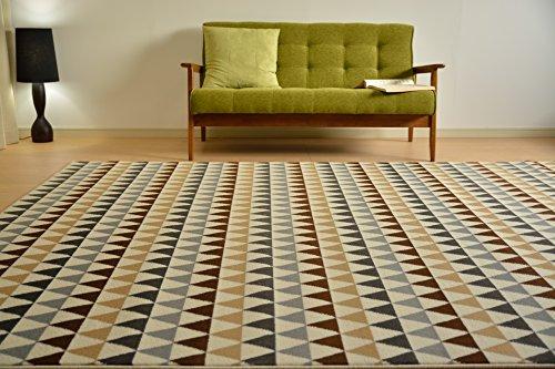 ウィルトン織 ラグ カーペット 絨毯 室内 北欧 3畳 ブラウ...