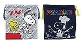 スヌーピー スウェット巾着ポーチ 2種セット(コック・スヌーピー&ウッドストック) きんちゃく袋