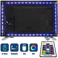 Tobbiheim LED テレビ バックライトネオンアクセント 2m LED ライトストリップ リモート LED バイアス照明付き 40~60 インチの HD テレビ フラット画面テレビアクセサリー デスクトップ PC モニター用