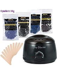 ボディービキニ脱毛?ワックスセット、500ml電気ワックスヒーター(ブラック)4種類のハードワックス豆と木製シャベル10種類、ワックス豆100g (1)