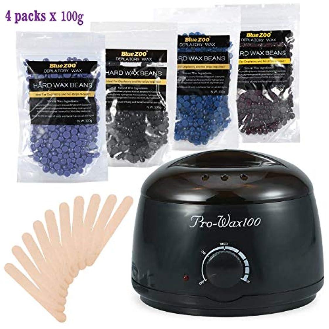 バスタブマイルド記録ボディービキニ脱毛?ワックスセット、500ml電気ワックスヒーター(ブラック)4種類のハードワックス豆と木製シャベル10種類、ワックス豆100g (1)