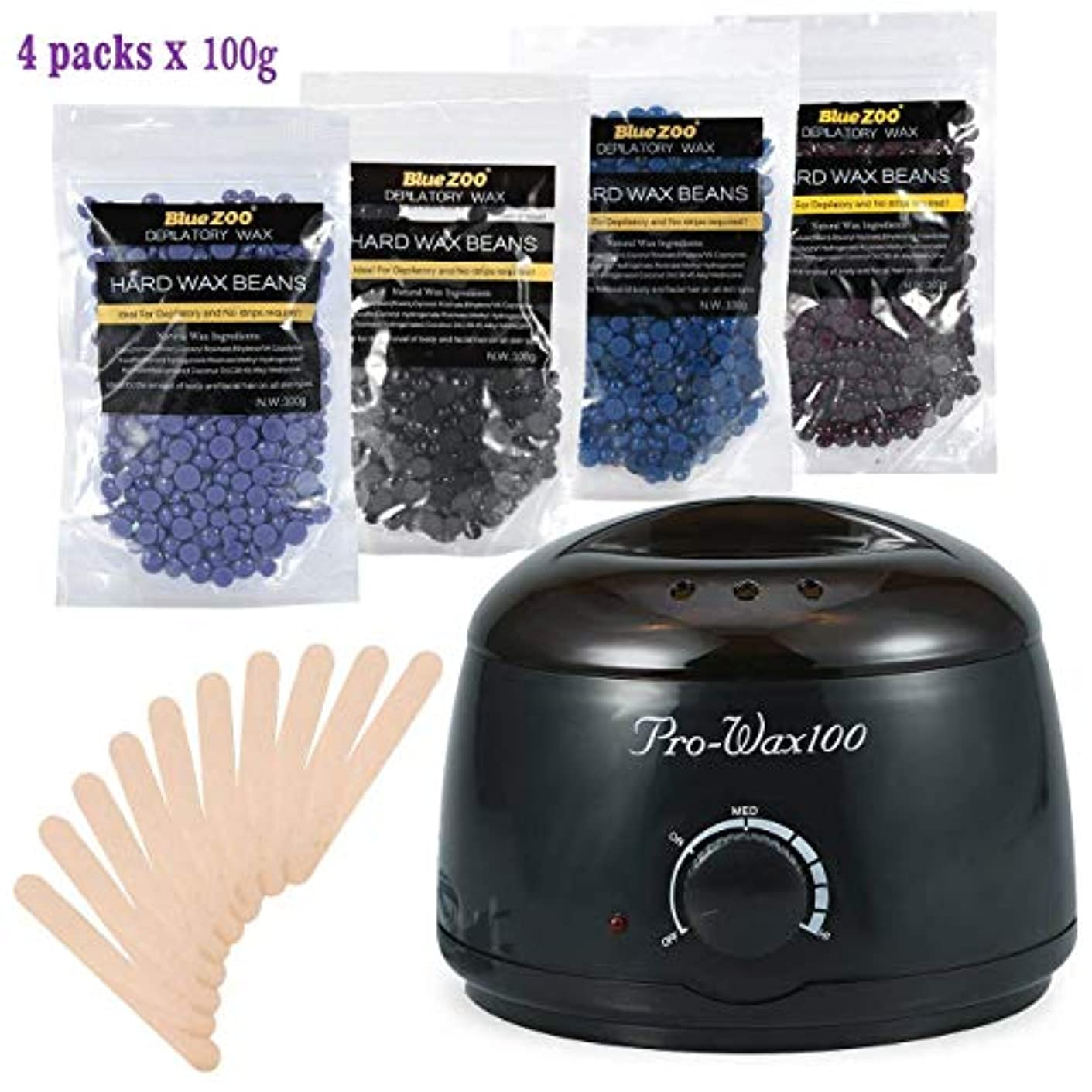 ウェイター思い出させるブランデーボディービキニ脱毛?ワックスセット、500ml電気ワックスヒーター(ブラック)4種類のハードワックス豆と木製シャベル10種類、ワックス豆100g (1)
