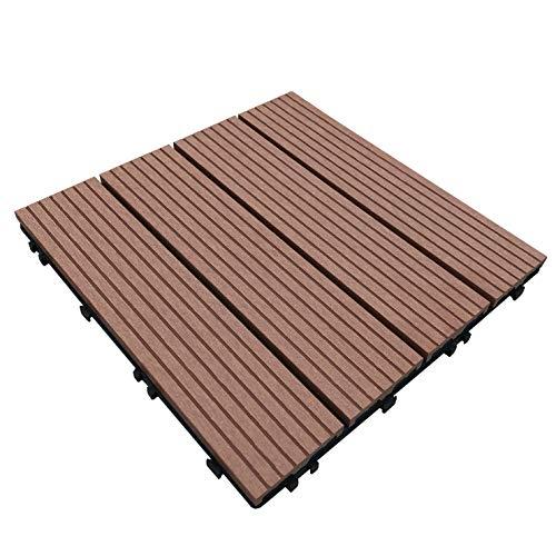 ウッドパネル ウッドタイル ウッドデッキ 人工木 25枚セット (2019年8月22日仕様変更) 樹脂 ベランダタイル ジョイントパネル 木製タイル (タイプB・ブラウン)