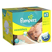 Pampers Swaddlers Diapers Size 1 Economy Pack Plus, 216 Count (Packaging May Vary) by Pampers