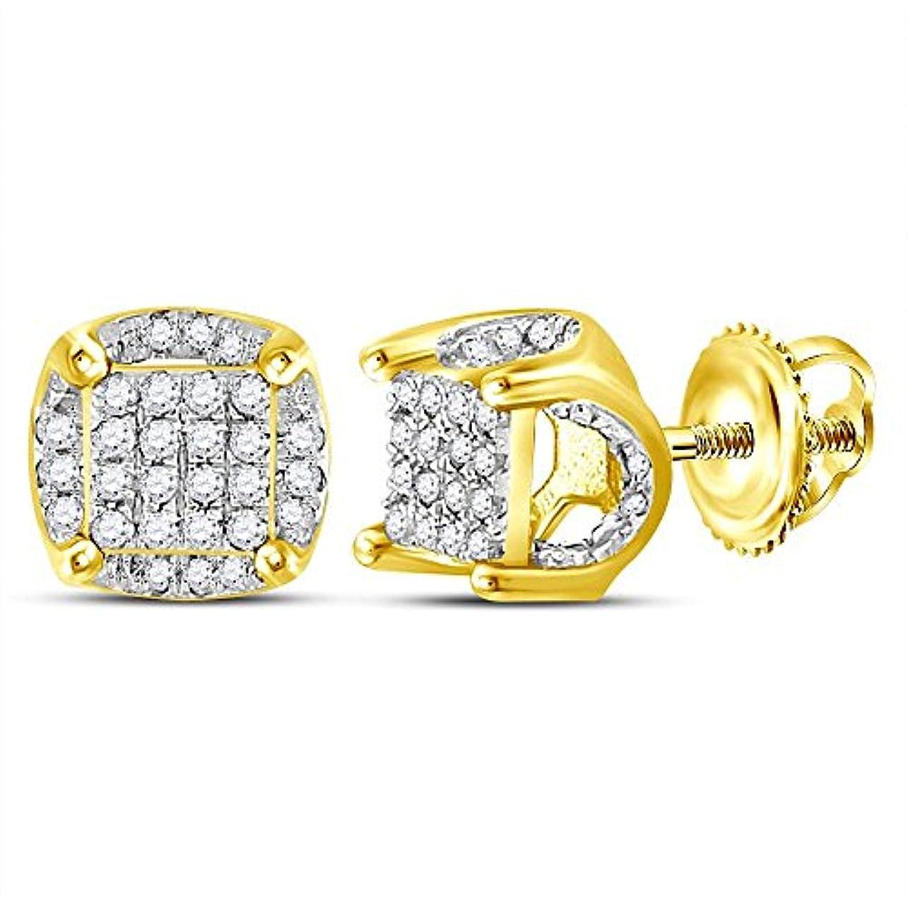 ミシンマーガレットミッチェルフィード10kt イエローゴールド メンズ ラウンドダイヤモンド クラスタッド ピアス 1/5 Cttw