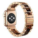 Apple Watch バンド/Apple Watch 4 バンド,Wearlizer アップルウォッチ iwatch,apple watch series 4/3/2/1 交換ベルト アップルウォッチ 4 apple watch 4 バンド iwatch ステンレス バンド 軽量 調整工具付 全6色 (ローズゴルード+アンバー, 42mm)