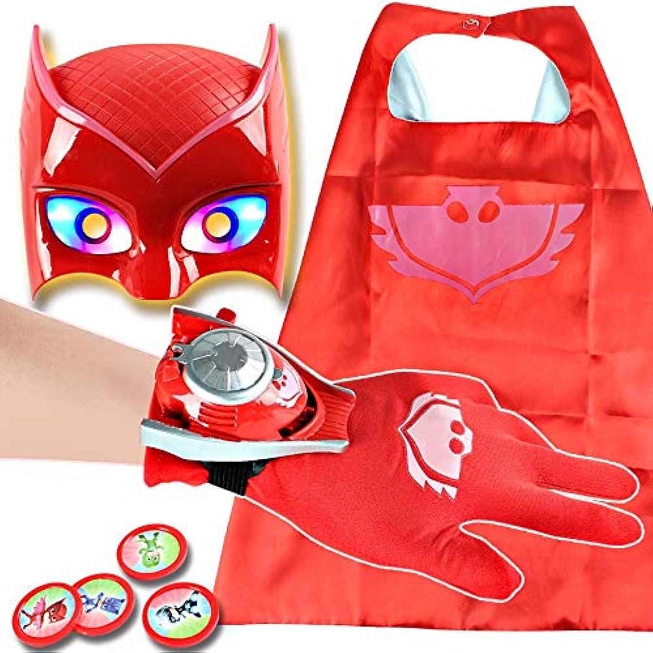 エンジニア通常一口子供用ハロウィンコスチュームマスク-漫画のヒーローマスク、マントと手袋の子供のコスプレ小道具