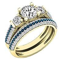10K ホワイトゴールド ラウンド ホワイトサファイア、ブルー&ホワイトダイヤモンド ブライダル 婚約指輪セット