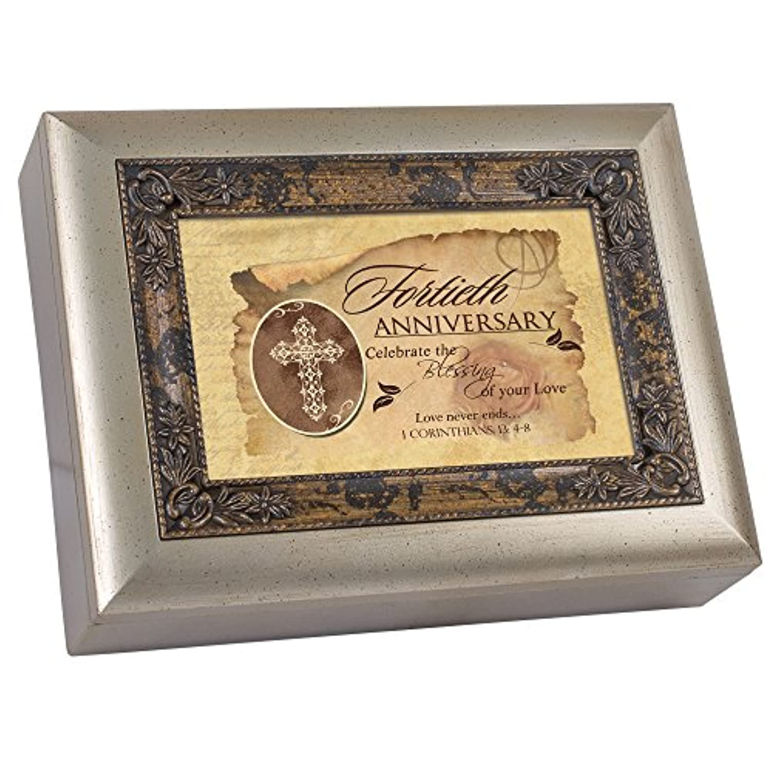 Cottage Garden 40Th Anniversary Amber With Inlay Digital Music Box / Jewellery Box Plays Blessings