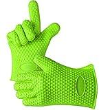 BUTEFO キッチン手袋 シリコン 耐熱 手袋 bbqグローブ 鍋つかみ 耐熱防水滑り止め 2つセット 5本指クッキンググローブ (グリーン)