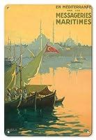 22cm x 30cmヴィンテージハワイアンティンサイン - 七面鳥, 出荷宅配便で地中海 - ボスポラス(イスタンブール海峡)トルコ - ビンテージな遠洋定期船のポスター によって作成された ギルバート・ギャランド c.1925