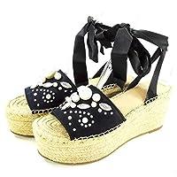 [ゲス] G by Womens Razzle Open Toe Casual Platform Sandals, Black Satin, Size 7.5