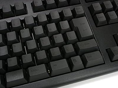 昇華印刷ブラックのRealforce印字。非常に視認性が悪いので見ながらタイピングはしにくい