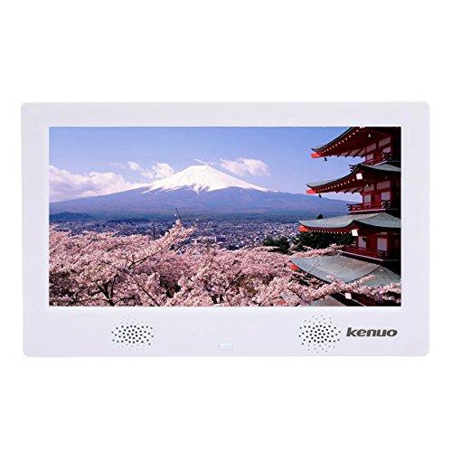 デジタルフォトフレーム 10.1インチ 1024X600高解像度 IPS広視野角 日本語取扱説明書 写真/動画/音楽再生 時計/カレンダー/アラーム機能付 プレゼントの良品 リモコン/一年間保証 Kenuo (ホワイト)