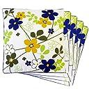 花柄 両面プリント 座布団 カバー 5枚組 ブルー(55×59cm)