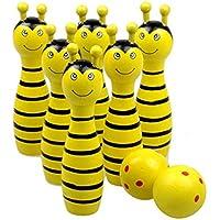 CA Mode(JP) キッズ スポーツ 知育玩具 ミニ 動物 木製 ボウリング セット 子供 おもちゃ 6ピン+2ボール