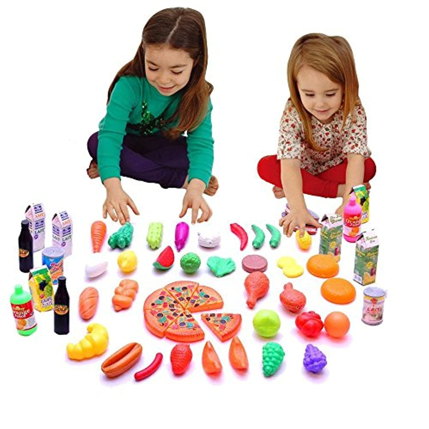 Toy Cubby Pretend Play Kids Toddlers Food Figure Play Set - 65 pieces [並行輸入品]