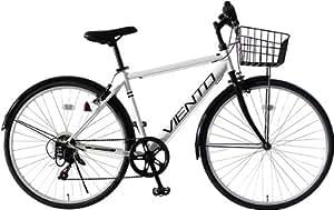 クロスバイク 26インチ カゴ付き 泥除け シマノ6段変速ギア T-MCA266-43-WH VIENTO TOPONE(トップワン)ホワイト
