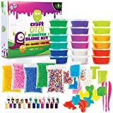 DIY Slime Making Kit - Perfect Arts and Crafts for Girls & Boys - Best Slime Kit for Glow in The Dark Slime w Slime Supplies to Make Your own Clear Slime, 20 Plus Glitter Vials & Play Doh Containers