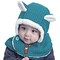 IBLUELOVER Baby Winter Plush Hat Scarf Warm Thick Earflap Hood Scarves Skull Cap(1-6Years)