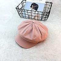 レトロベレー 帽子女性帽子男性イギリス夏八角形キャップ文学レトロ新聞ボーイ帽子屋外ベレー帽 エレガント (色 : ピンク)