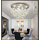 "Crystal Ceiling Light LED 3 Brightness Crystal Chandelier Chandelier Ceiling Light Suitable for Staircase Corridor Living Room Lamp with LED Bulb (D-19.7"")"