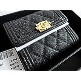 CHANEL Nouveauté Boy caviar mini wallet シャネル 財布 折りたたみ財布 18SS限定 超レア BOY キャビア ミニ財布 ブラック 黒 アンティークゴールド金具