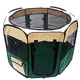 1stモール 折りたたみ 防水ペットケージ 八角形 ペットサークル 大型ケージ フェンス ( グリーン Mサイズ ) ST-PETPLAY0023-M-GR